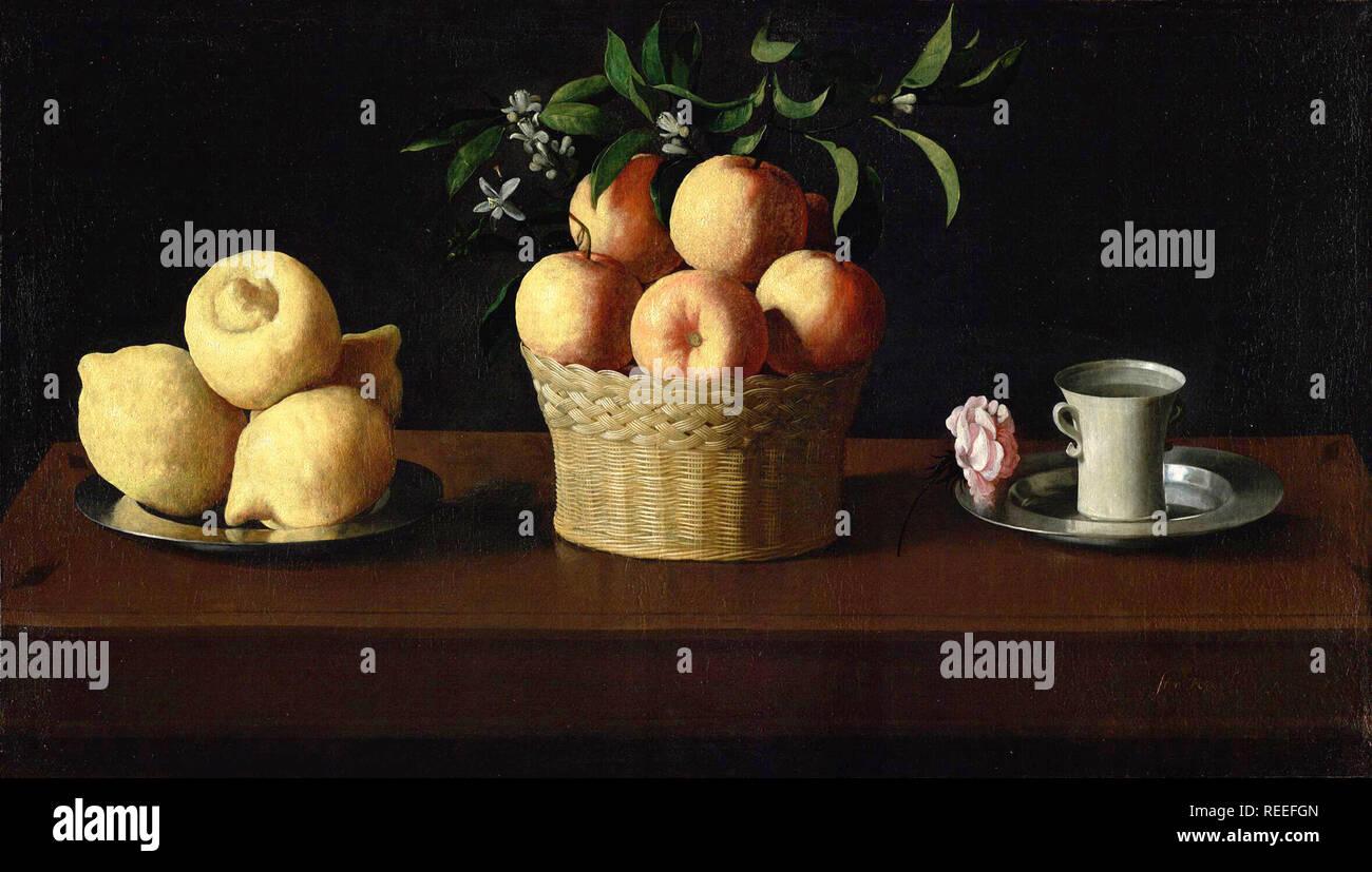 Bodegón con limones, naranjas y una rosa de Francisco de Zurbarán Imagen De Stock