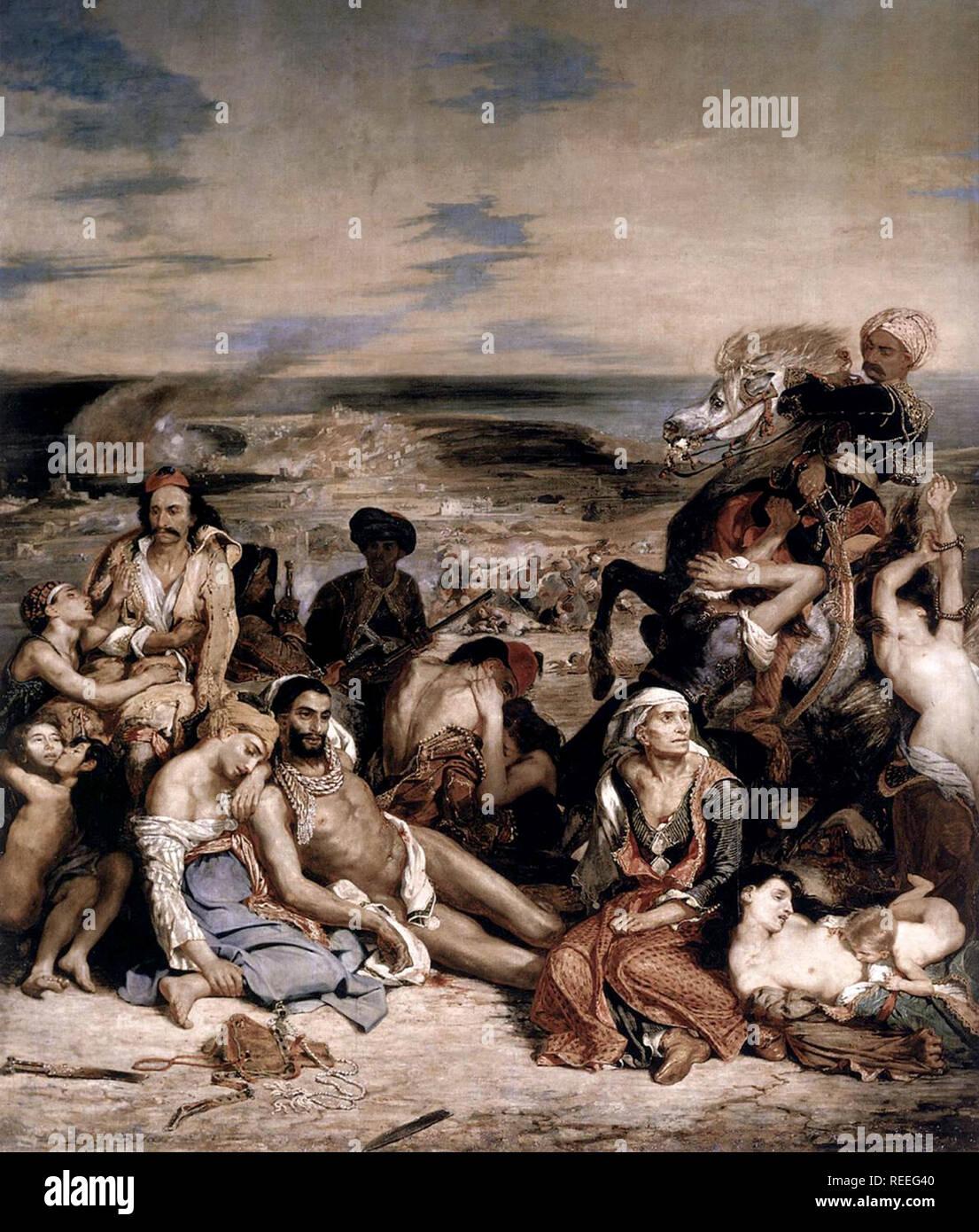 La masacre de Chios por Eugène Delacroix representa un ataque militar contra los habitantes de Chios por fuerzas Otomanas el 11 de abril de 1822 Foto de stock