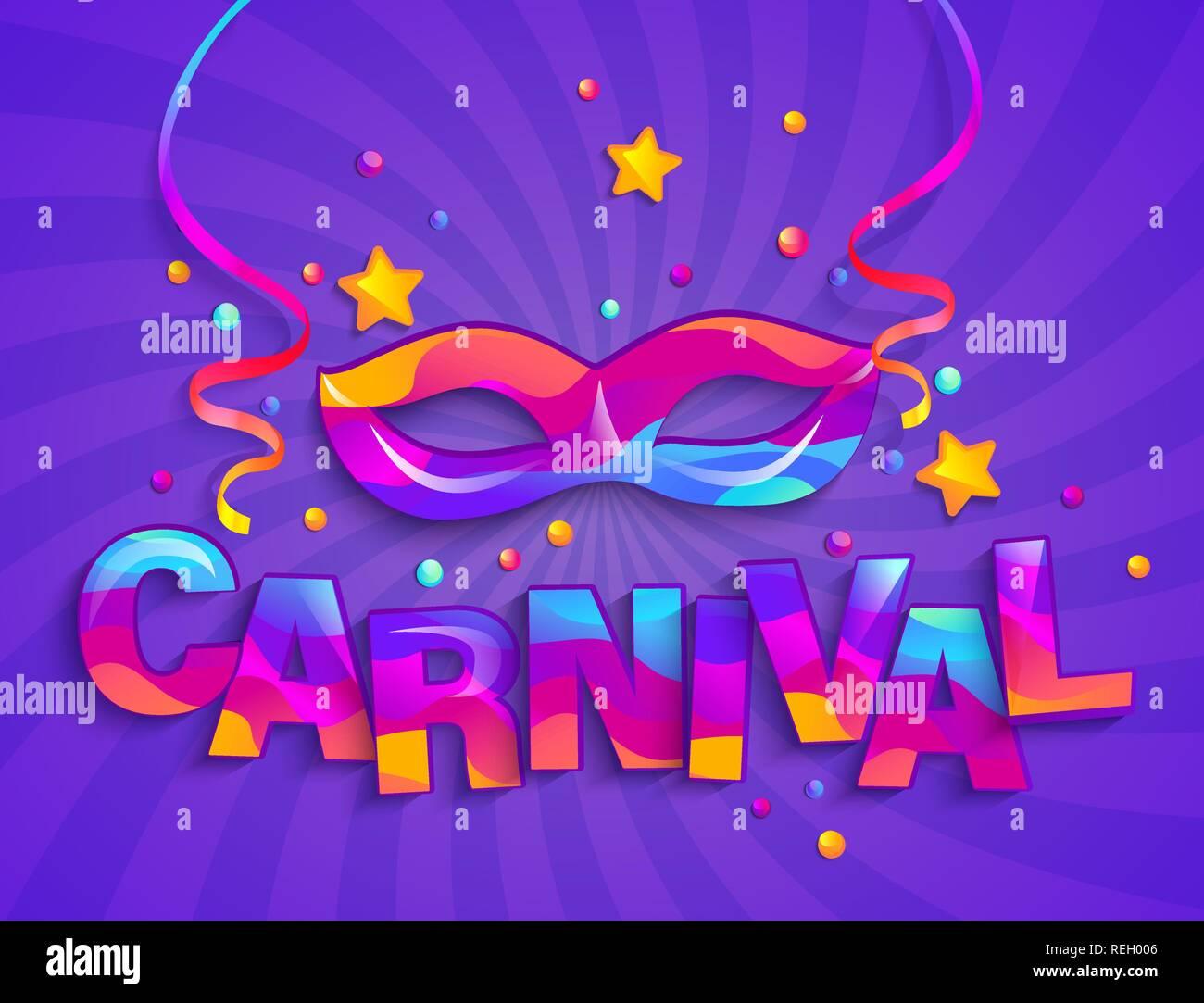 Máscara De Coloridas Fiestas De Carnaval En Sunburst De