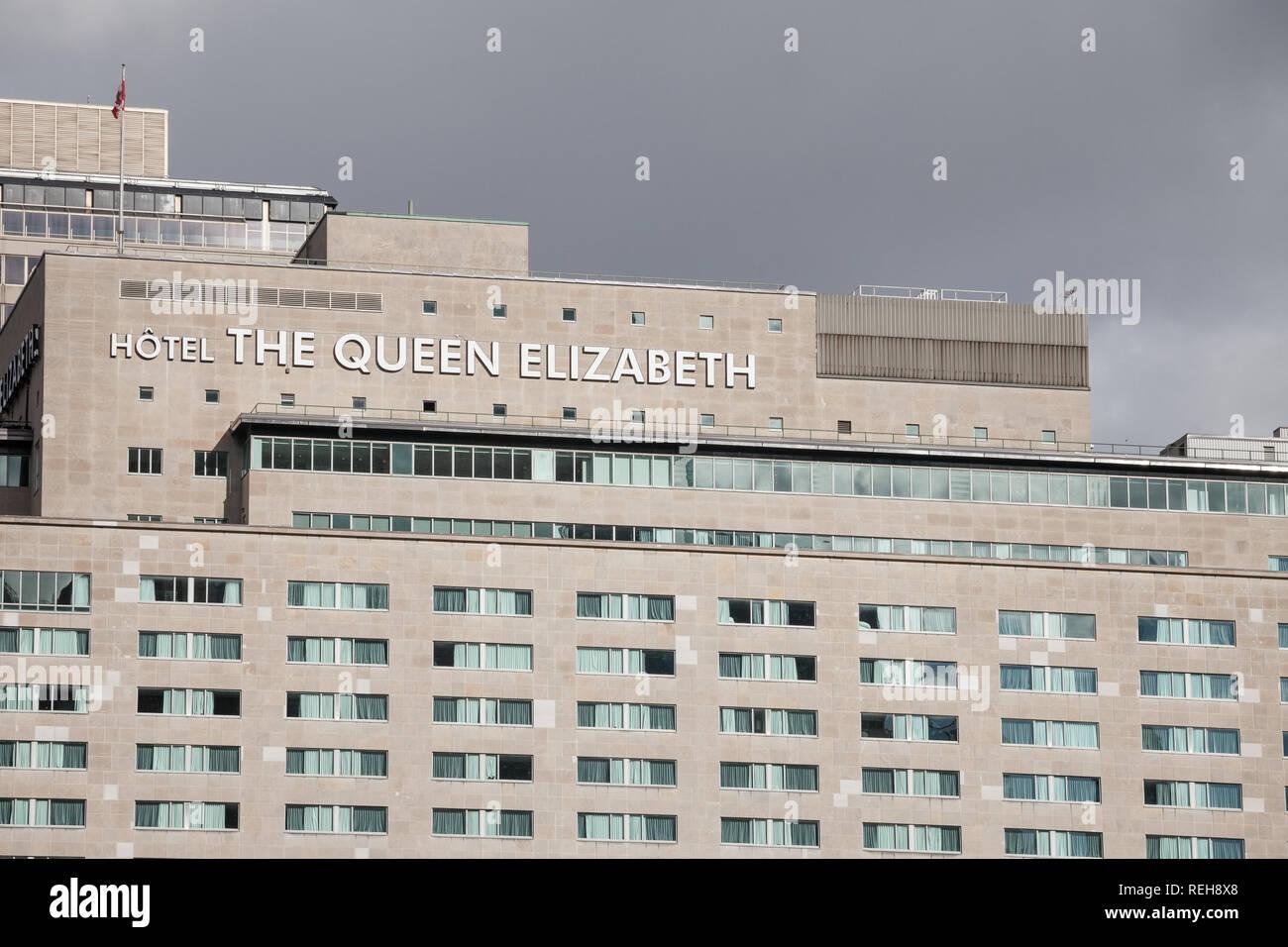 MONTREAL, Canadá - 7 de noviembre de 2018: La Reina Elizabeth de logotipo en su edificio en el centro de Montreal, Quebec. Hotel Reine Elizabeth es un hito y Imagen De Stock