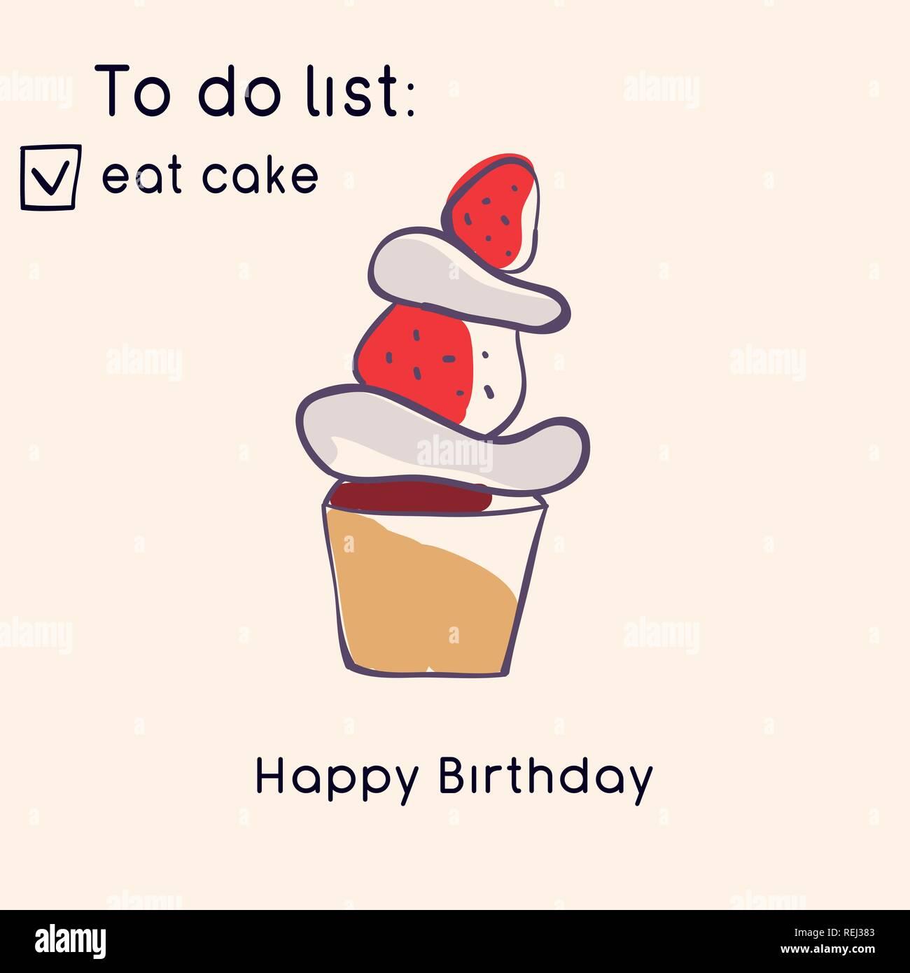 479d2cb03 Tarjeta de felicitación de cumpleaños. Ilustración estilo Doodle. Dulces y  pasteles. Ilustración vectorial