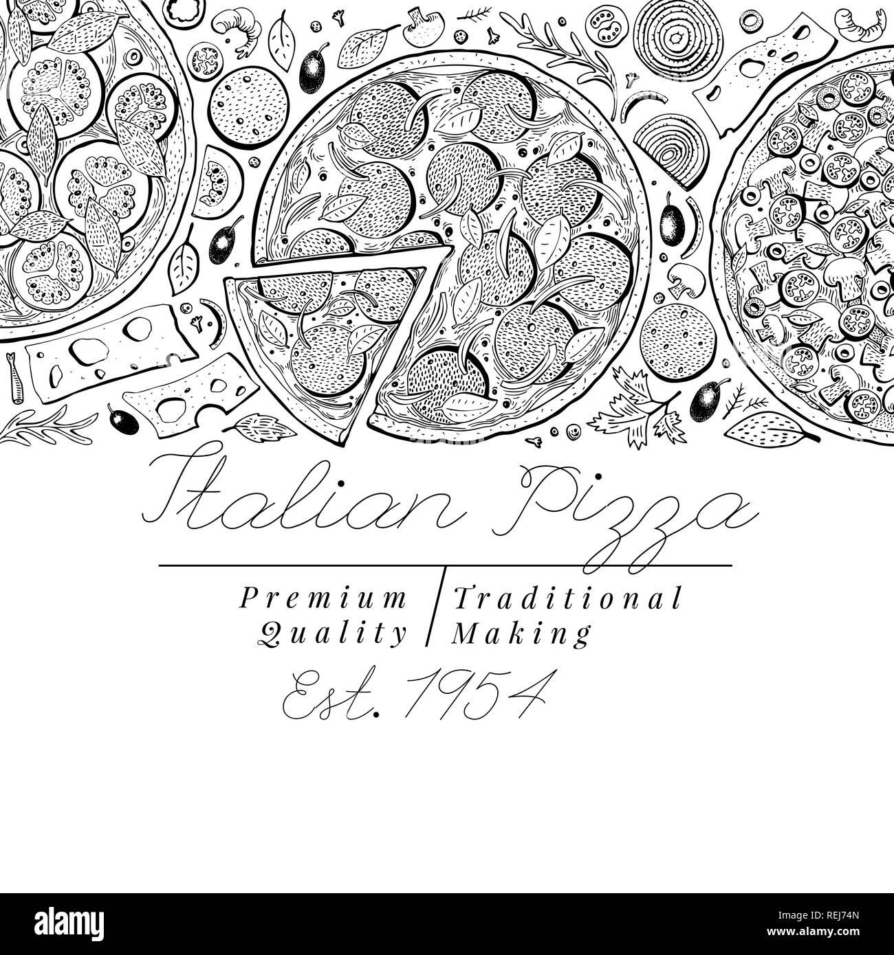 a795615ed Vista superior de la pizza italiana Vector banner. Ilustraciones retro  dibujados a mano. Plantilla