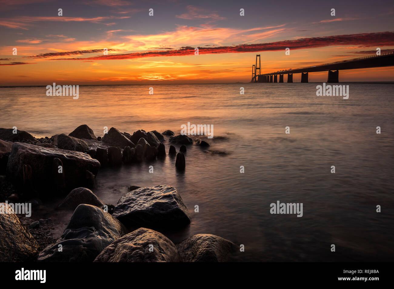 Puente Great Belt en Dinamarca Foto de stock