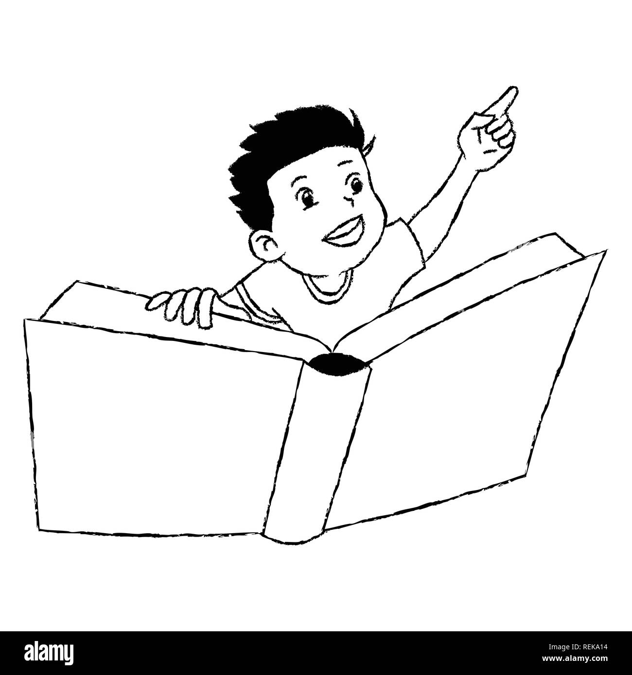 Chico Volando Libro Aislado Sobre Fondo Blanco Dibujados A