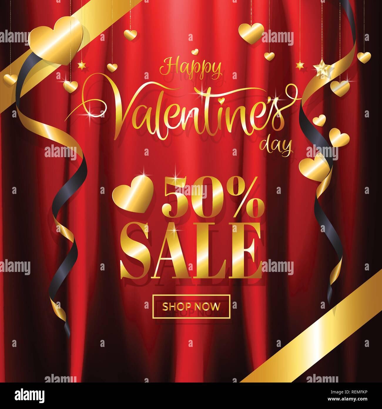 54decefd0999 El día de San Valentín de lujo venta con fondo de oro rojo glitter  caligrafía y corazón