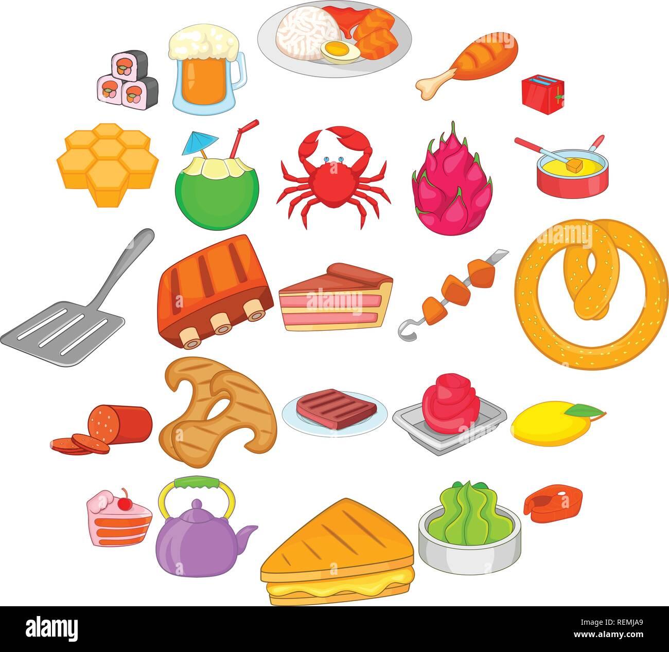 Iconos de alimentos nacionales, estilo de dibujos animados Ilustración del Vector