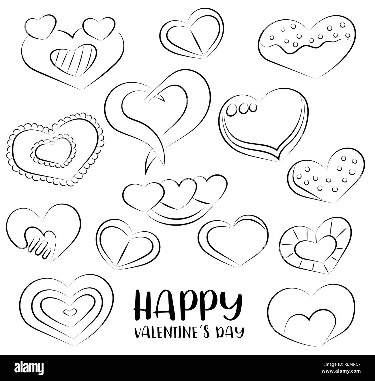 Día De San Valentín Conjunto De Iconos Y Objetos Doodle Dibujados A