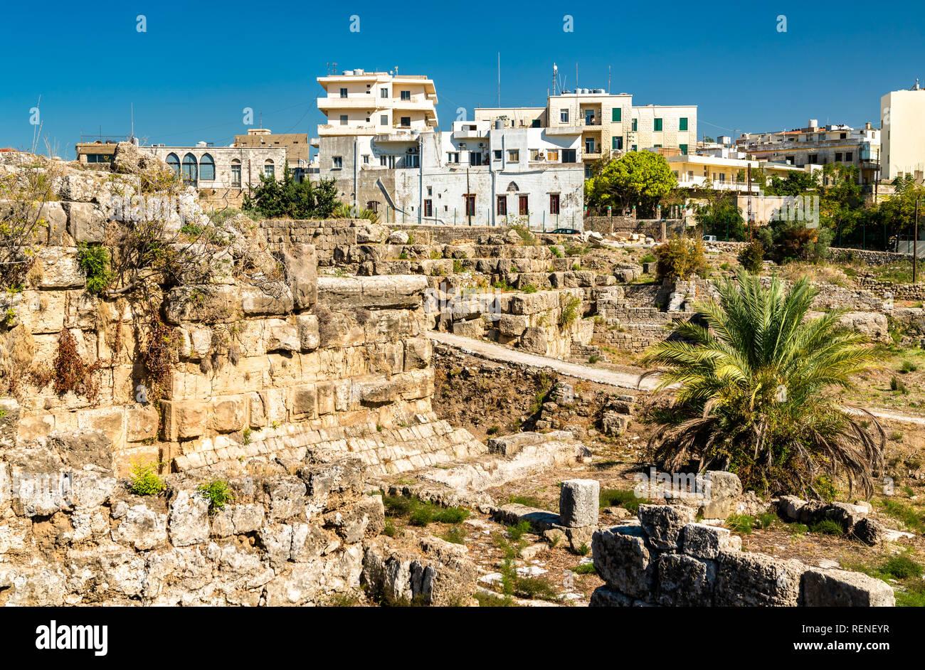 Ruinas de Biblos en el Líbano, un sitio del Patrimonio Mundial de la UNESCO Foto de stock