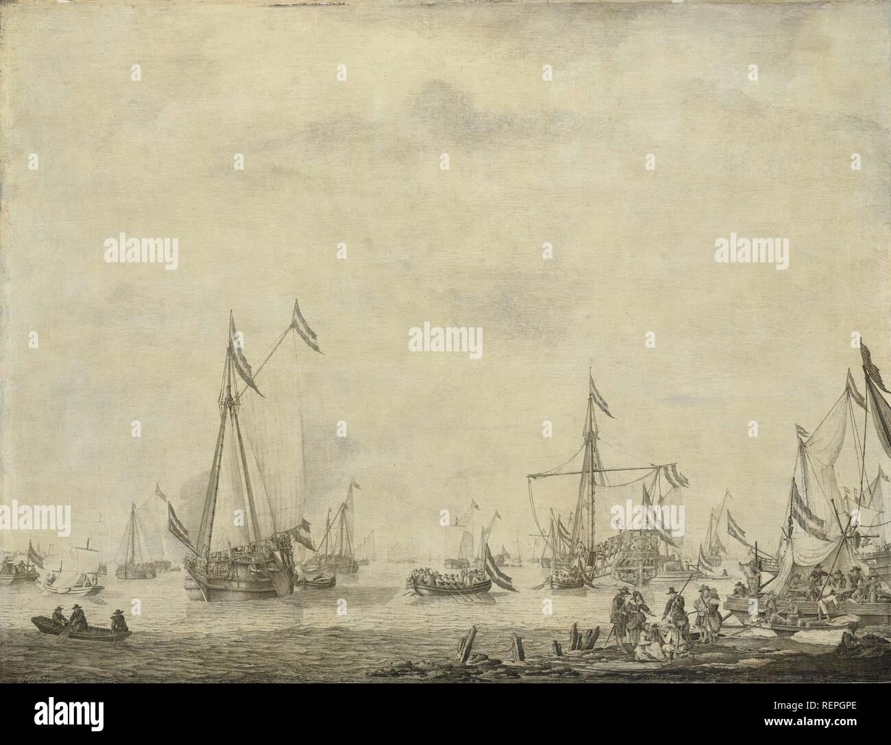 Royal Yacht y Estado vela yate desde Moerdijk con Carlos II, Rey de Inglaterra, a bordo, 1660. Datación: 1660 - 1693. Mediciones: H 61 cm × 80 cm; w d 6.5 cm. Museo: Rijksmuseum, Amsterdam. Autor: Willem van de Velde (I). Imagen De Stock