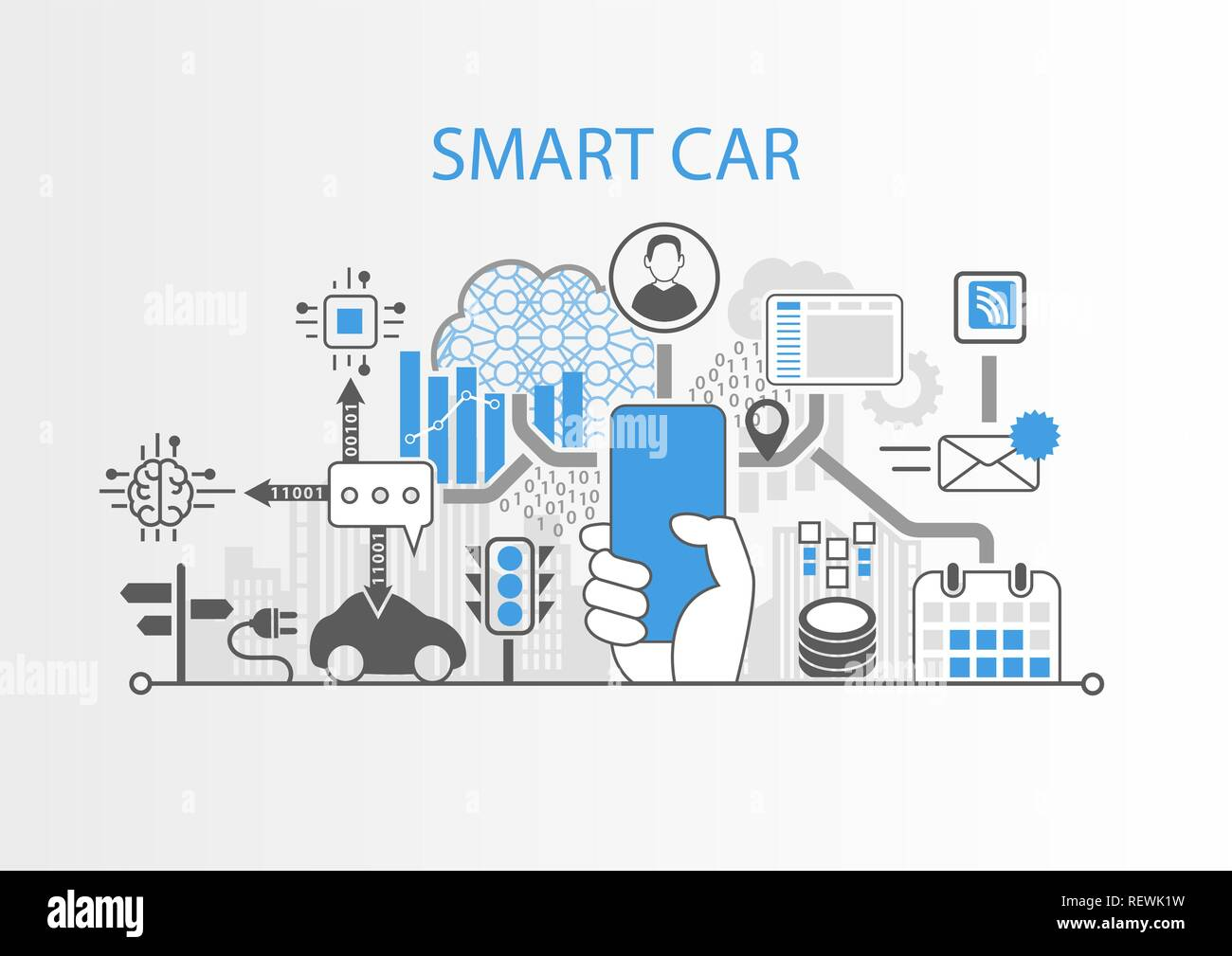 Smart Car Concept con la mano que sujeta el bisel moderno smartphone libre Ilustración del Vector