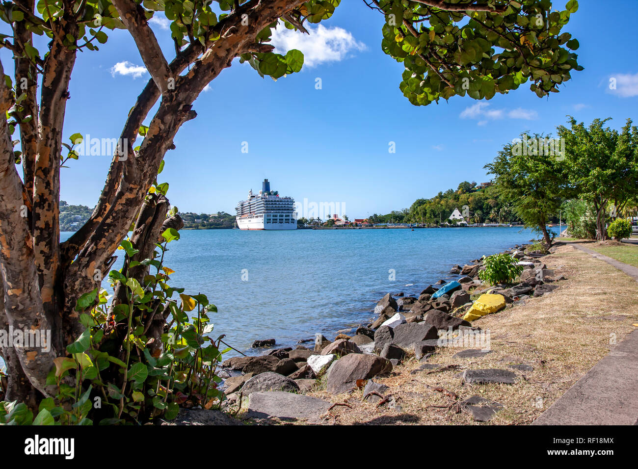 Castries Santa lucía una de las Islas de Barlovento en el Caribe. Foto de stock