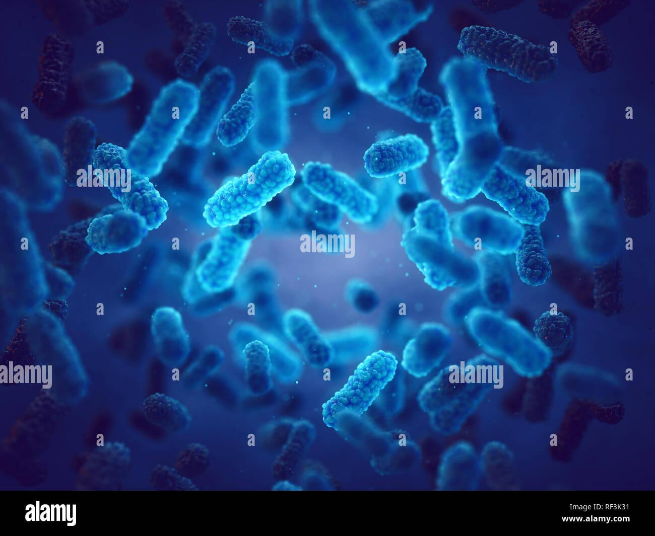 Las bacterias patógenas, la epidemia de infección bacteriana Foto de stock