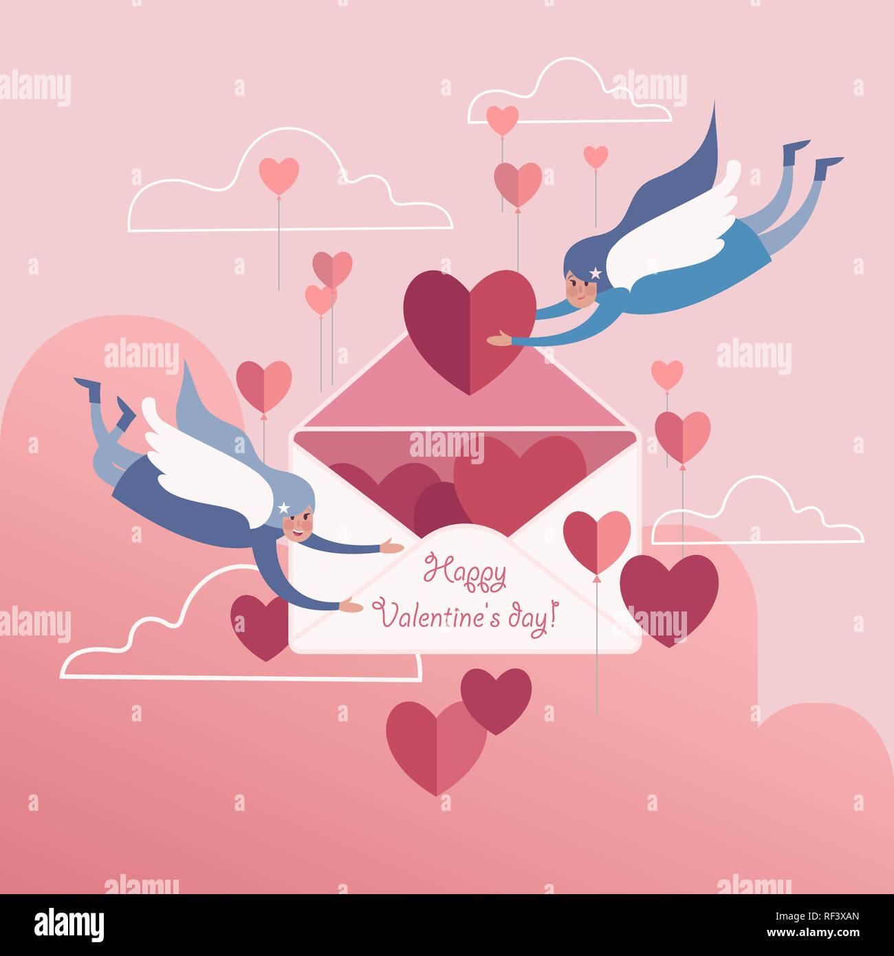 Lindo Par Soaring Blanco ángeles Alados Con Valentín Rosa De Fondo