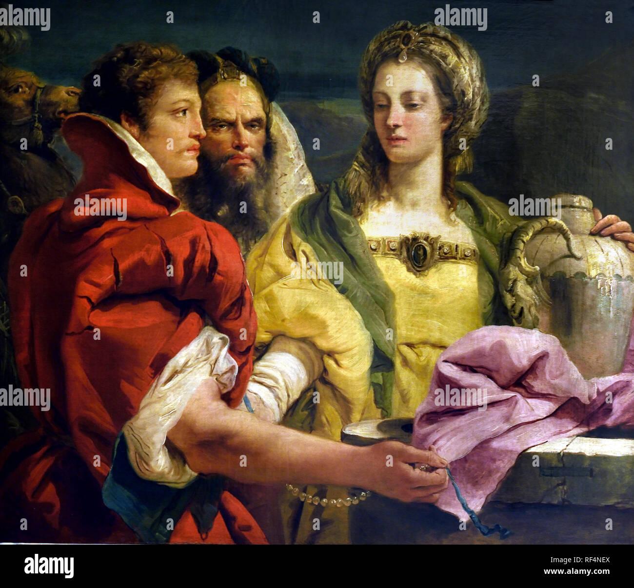 Rebecca en el 1751 por Giovanni Domenico - Giandomenico Tiepolo (1727-1804), Italia, Italiano, ( instrucciones de Abraham para encontrar una esposa para su hijo Isaac, Eliezer reconocerá su cuando, cerca de un pozo, Rebecca le dará una bebida. ) Foto de stock