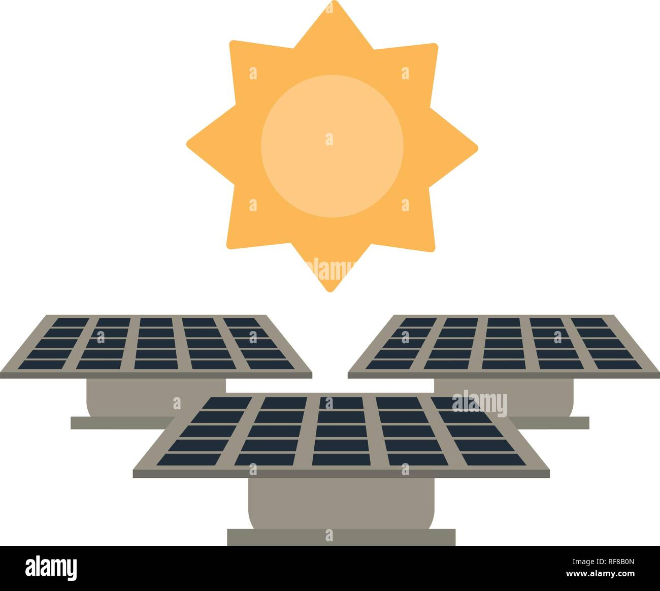Paneles solares y sun Imagen De Stock