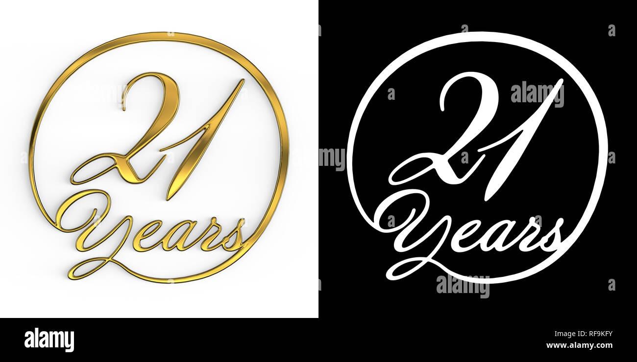 Número de oro veintiún años (número 21 años) en un círculo, vista superior con canal alfa. Ilustración 3D Foto de stock