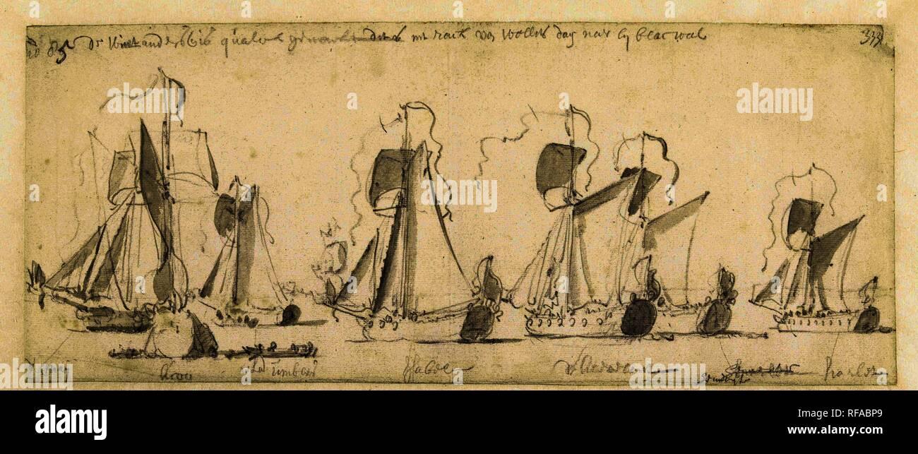 El viaje desde el rey inglés Carlos II sobre el Támesis a Sheerness y Chatham el 27 de agosto de 1681. Ponente: Willem van de Velde (I). Dating: 27-ago-1681 - 31-Dic-1681. Mediciones: h 157 mm × W 375 mm. Museo: Rijksmuseum, Amsterdam. Imagen De Stock