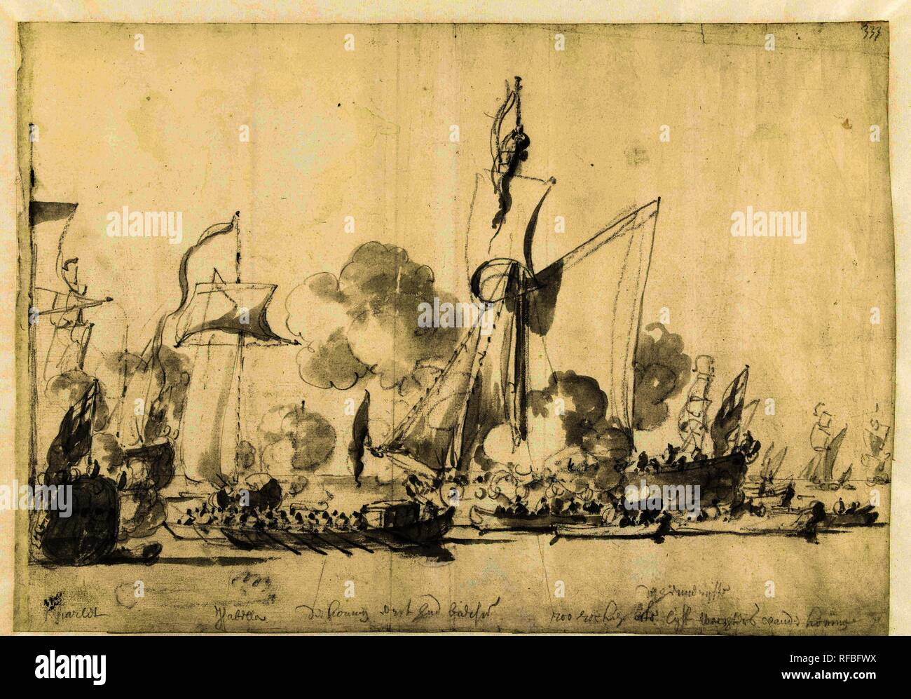 El viaje desde el rey inglés Carlos II sobre el Támesis a Sheerness y Chatham el 27 de agosto de 1681. Ponente: Willem van de Velde (I). Dating: 27-ago-1681 - 31-Dic-1681. Mediciones: h 305 mm × W 435 mm. Museo: Rijksmuseum, Amsterdam. Imagen De Stock