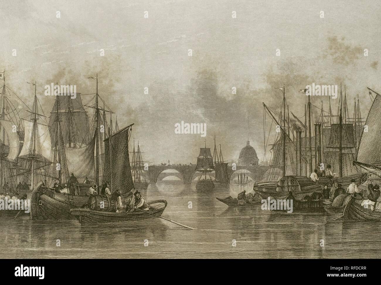 """Reino Unido. Inglaterra. La piscina superior (puerto de Londres). Tramo del río Támesis que se extiende menos de una milla por debajo del Puente de Londres. Transporte marítimo en el río. Al fondo, el Puente de Londres (London Bridge) y la catedral de San Pablo. Grabado por John Woods (fl.1835-1855) a partir de un dibujo por el pintor paisajista John Francis Salmón (1808-1886). """"Londres y sus alrededores"""", h. 1840 (Londres y sus alrededores). Biblioteca Histórico Militar de Barcelona. Cataluña, España. Foto de stock"""