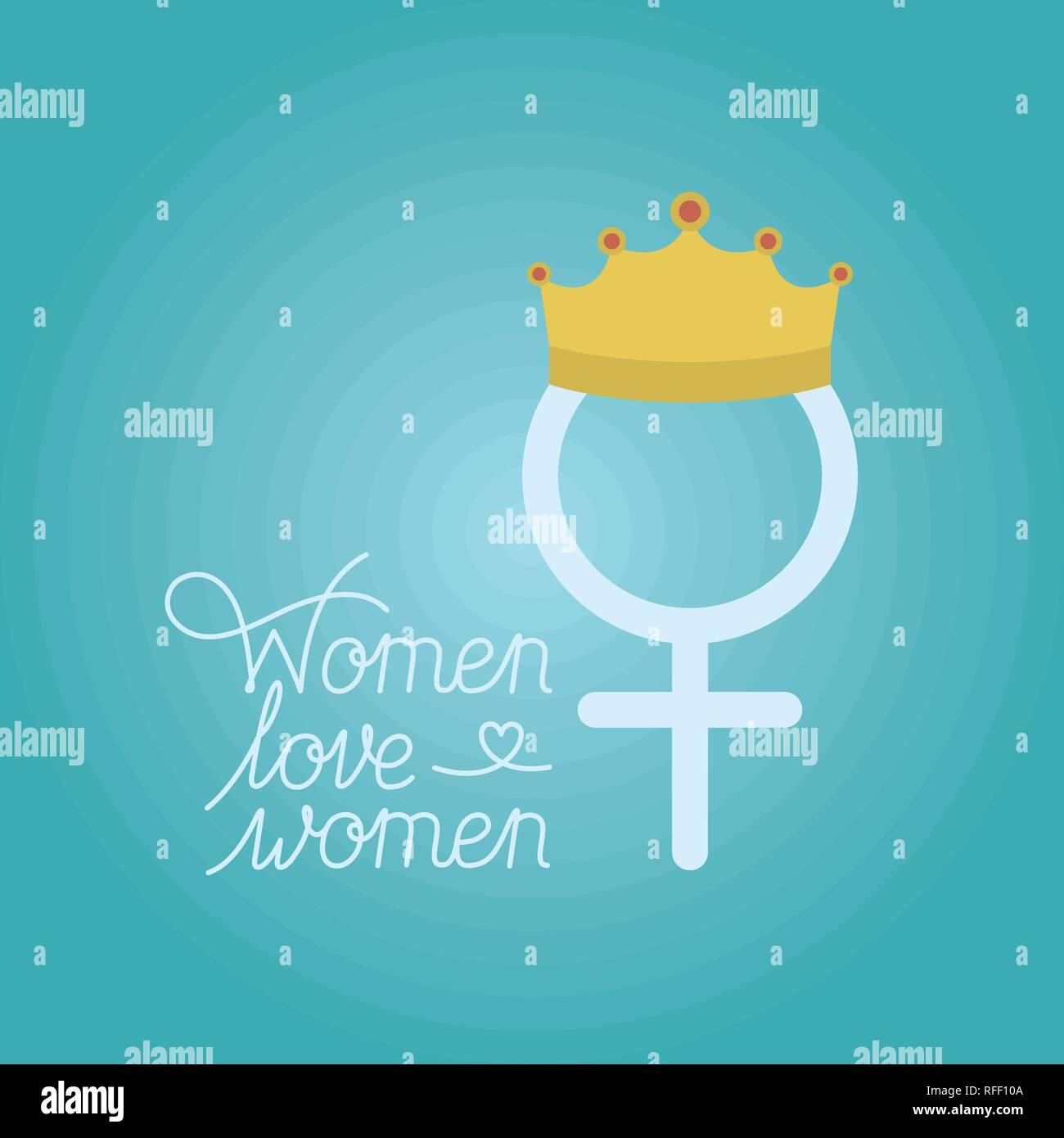 Tarjeta del Día de la mujer con el sexo femenino y la corona Imagen De Stock