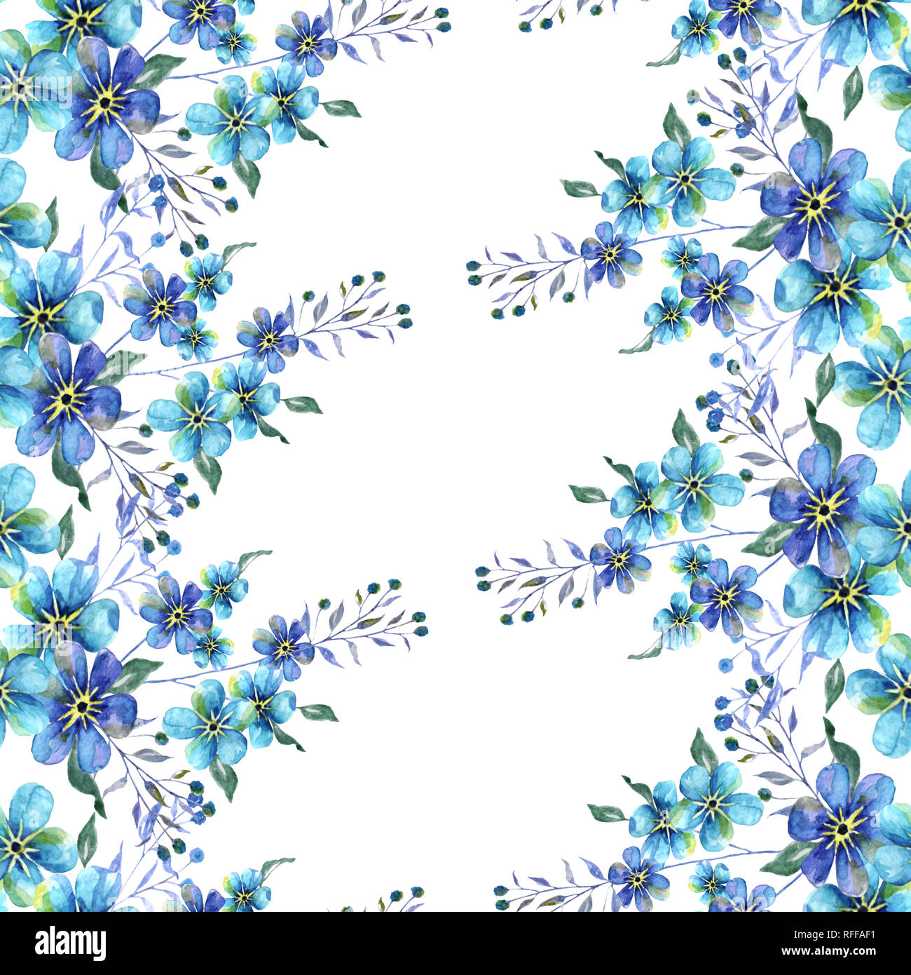Acuarela Patron Sin Fisuras Con Flores Azules Forget Me Nots Sobre
