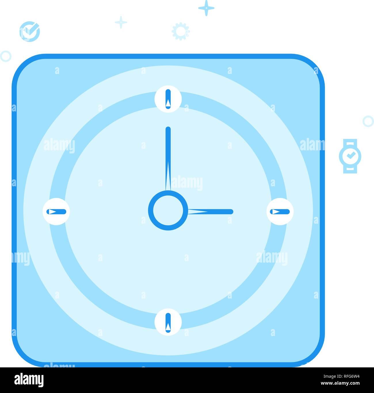 2664c2aca68f Reloj cuadrado plano Icono de Vector. Reloj de pared de oficina clásico  Símbolo