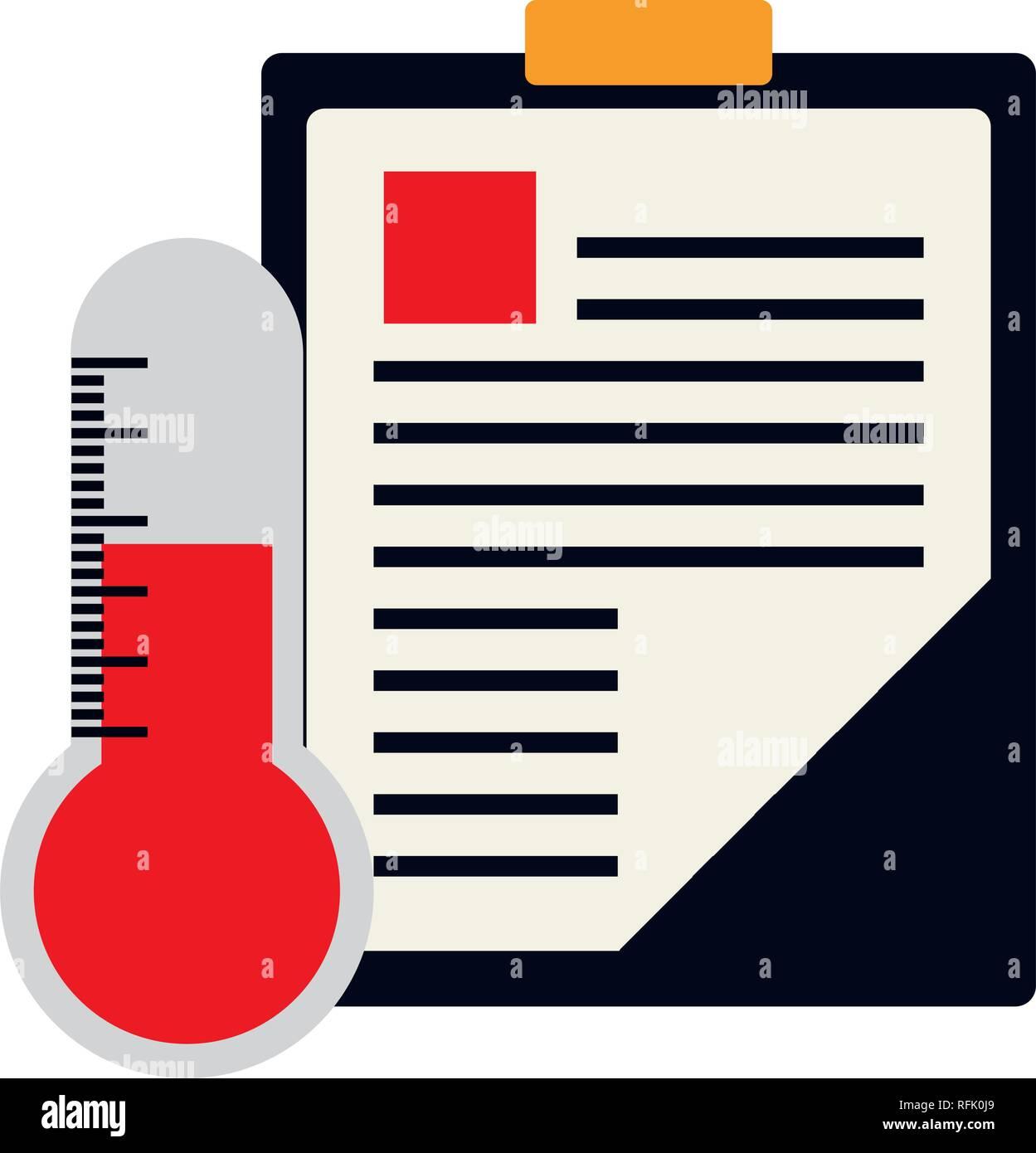 2aacda9be Lista de comprobación de orden médica con diseño ilustración vectorial  termometer