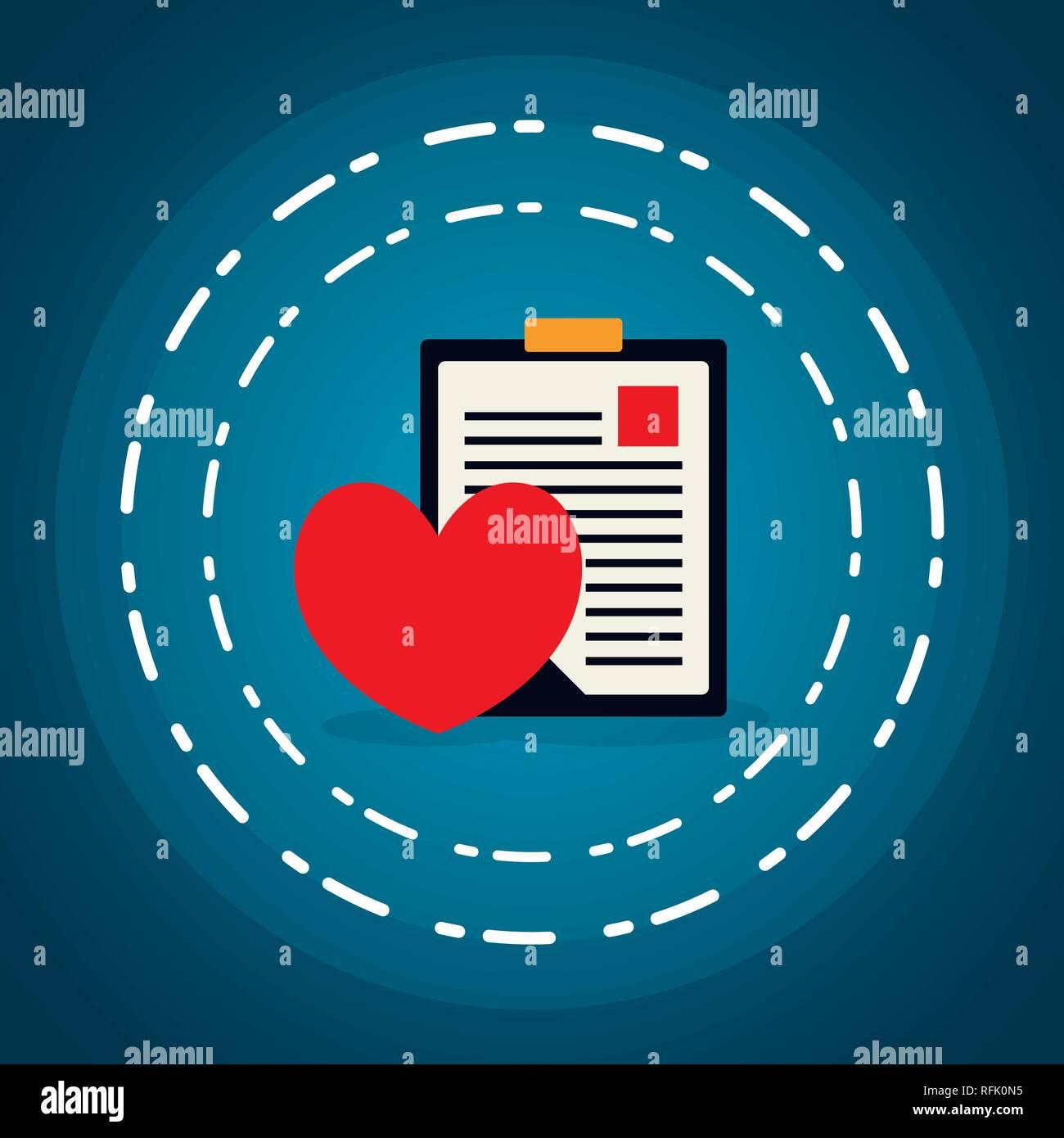d1597710c Lista de comprobación de orden médica con corazón de cardio diseño ilustración  vectorial