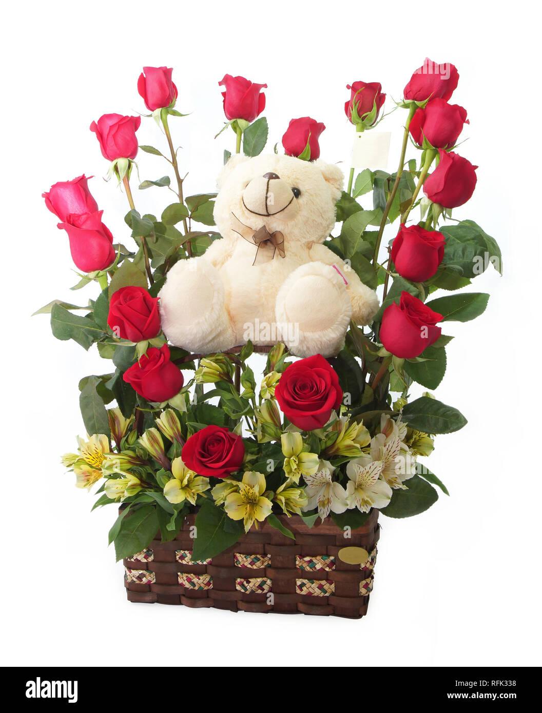 Regalo Floral Arreglo Con Rosas Rojas Con Tallos Largos