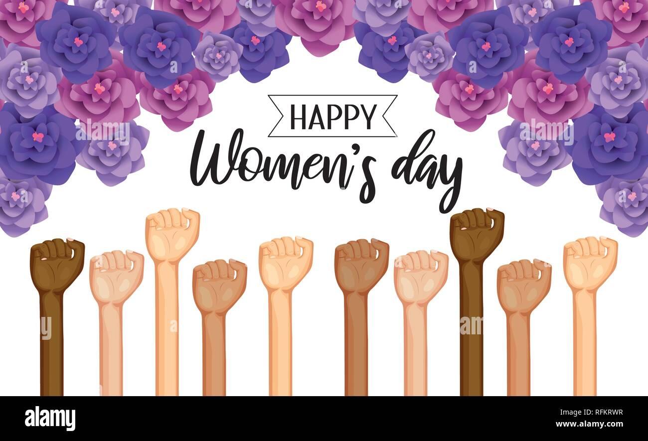 Power manos arriba con rosas en celebración del día de la mujer Ilustración del Vector