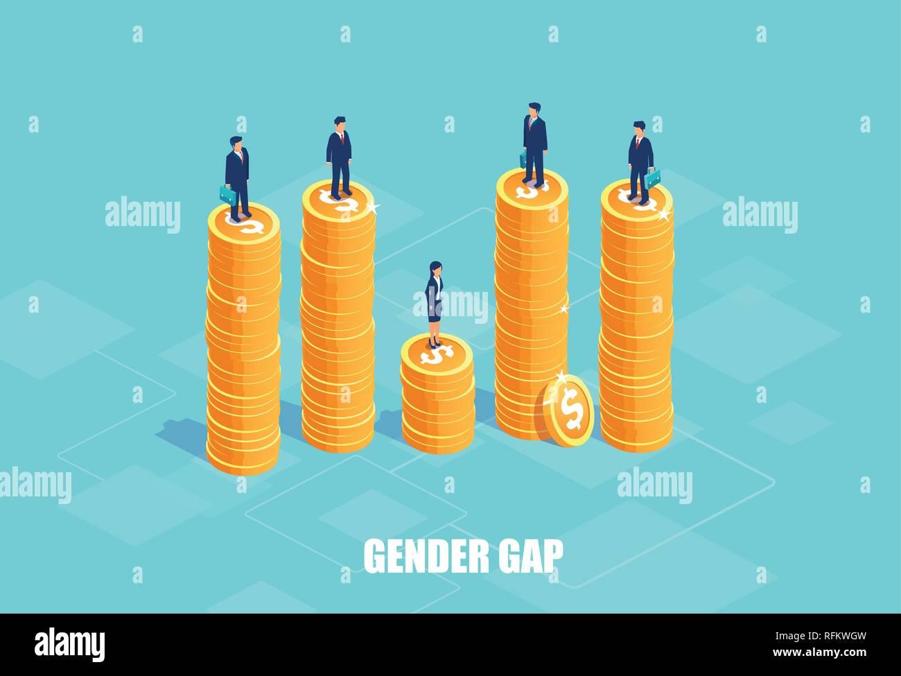 Brecha de género y el concepto de pagar la diferencia. Vector de empresarios y empresaria en los montones de monedas de diferente altura. Símbolo de discriminación e INY Ilustración del Vector