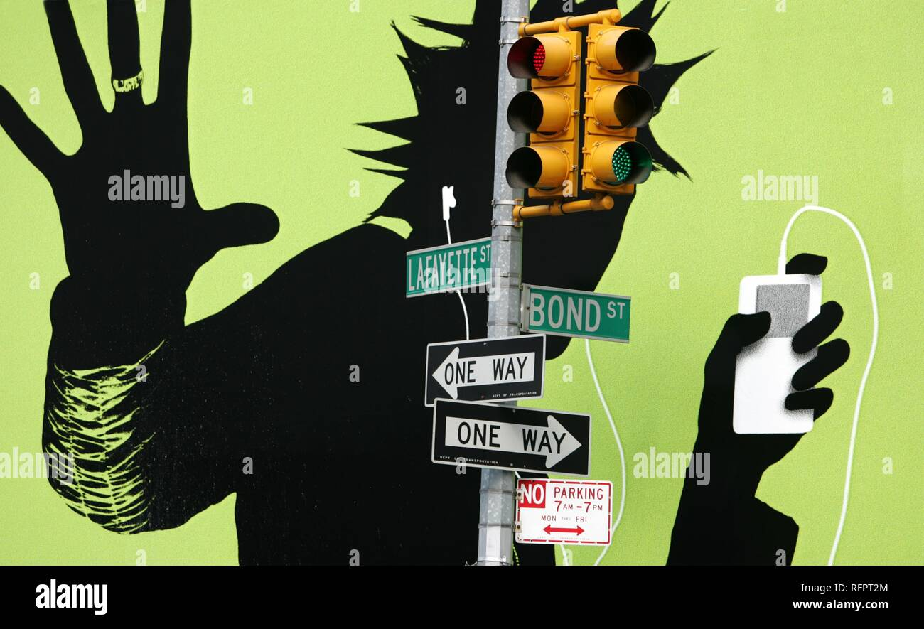 Ee.Uu., Estados Unidos de América, la ciudad de Nueva York: Ciudad amplia publicidad para Apple iPod MP3 player, vallas publicitarias. Foto de stock
