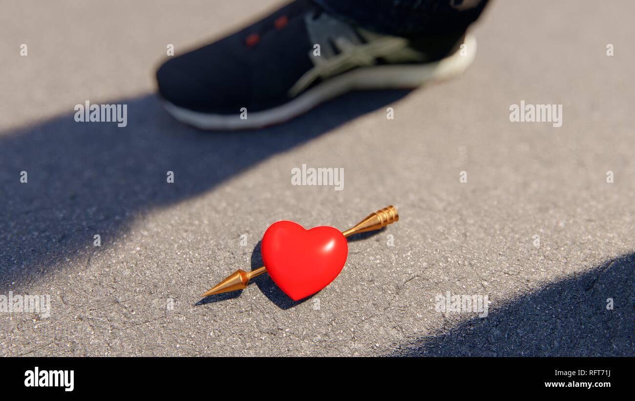 Corazón rojo con amor flecha en el asfalto, bokeh, 3D rendering Imagen De Stock