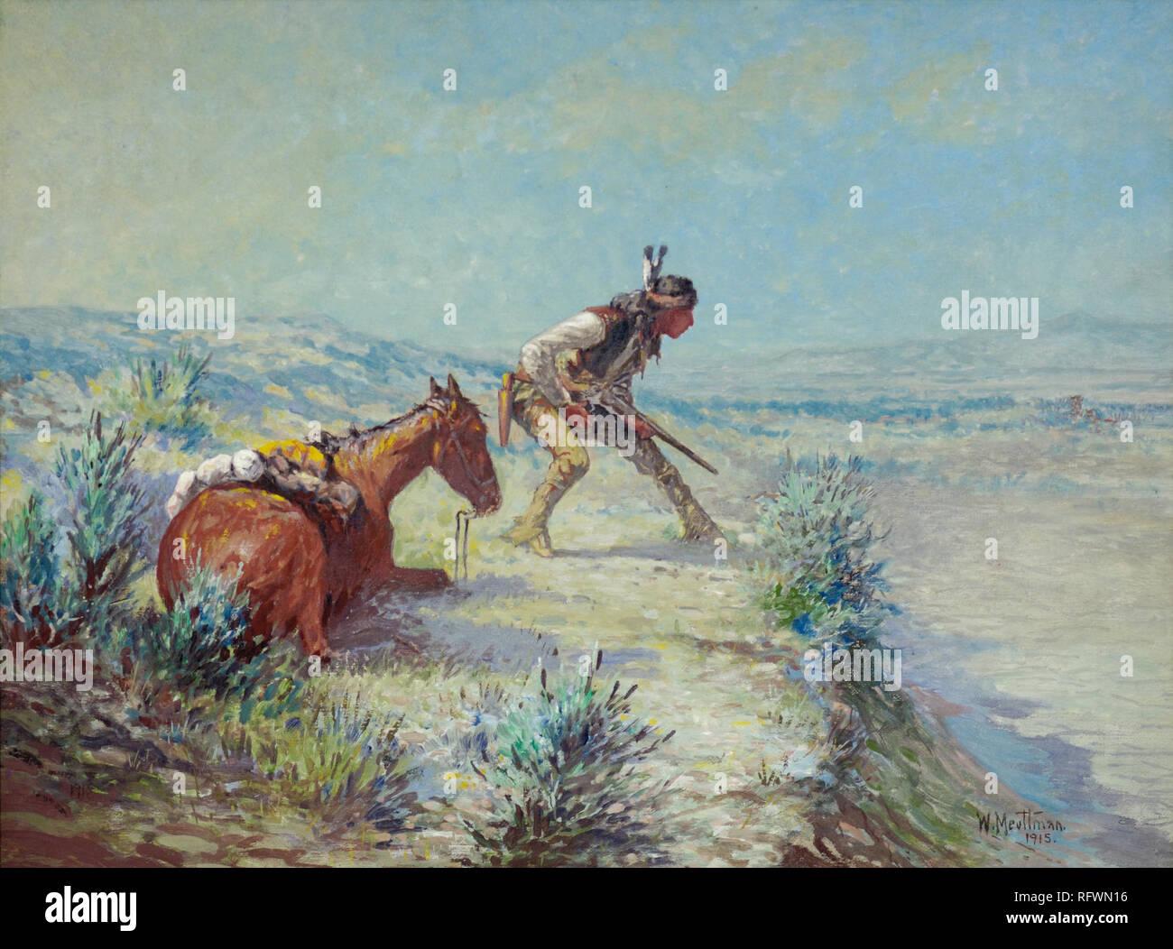 WILLIAM MEUTTMAN (1869-1948) el avance Scout (1915) - óleo sobre lienzo.jpg - RFWN16 Foto de stock
