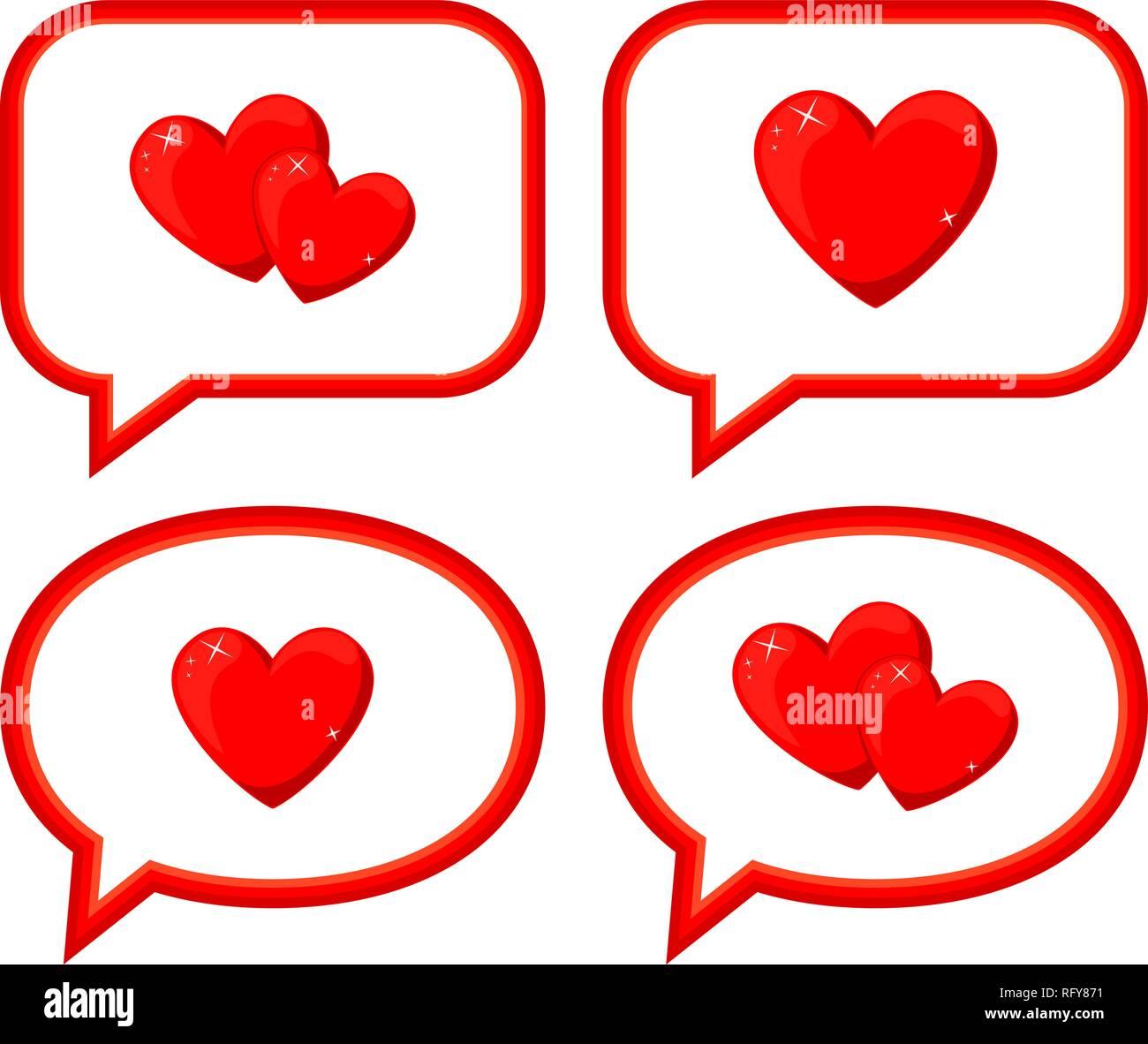 Los Mensajes De Amor De Dibujos Animados Ilustración Del Vector