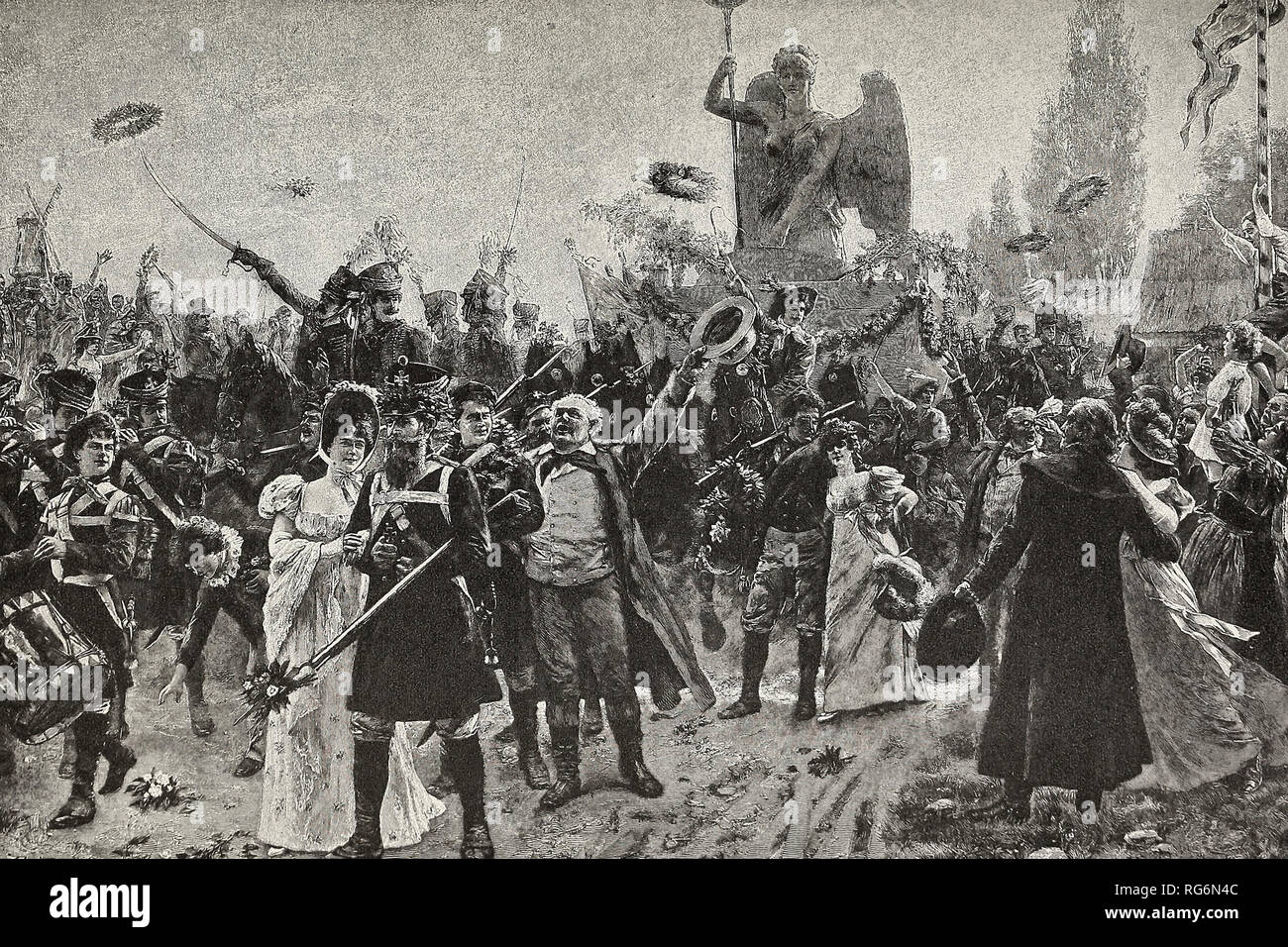 El triunfo en Berlín - La Estatua de la victoria, capturados por Napoleón, se restaura con fiestas en 1814. Foto de stock