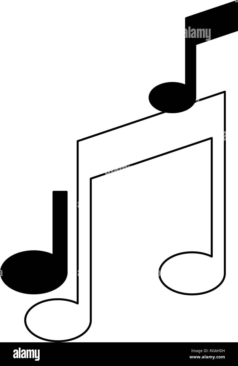 Símbolos de notas musicales en blanco y negro Ilustración del Vector