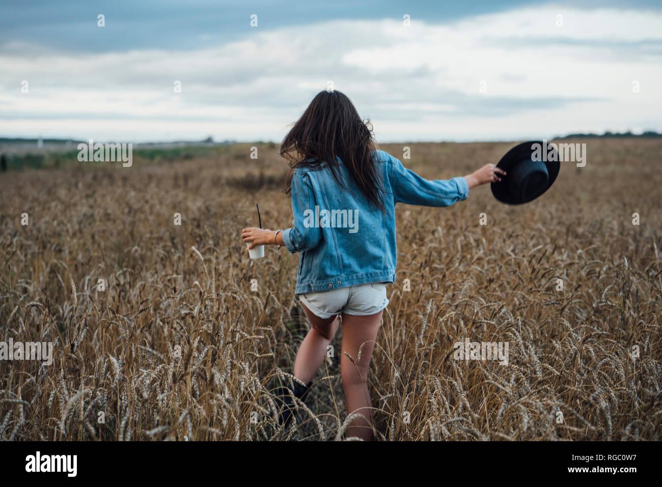 Vista posterior de la mujer joven con bebidas y hat caminar en el campo de maíz Foto de stock
