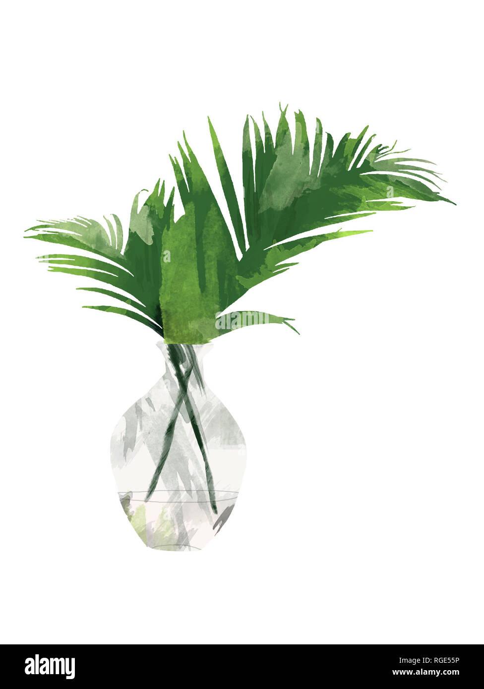 Pintado a mano con hojas de palmera Areca tropical en la botella o jarrón aislado sobre fondo blanco. Botánico Floral clip art para el diseño o la impresión - Ilustración Imagen De Stock