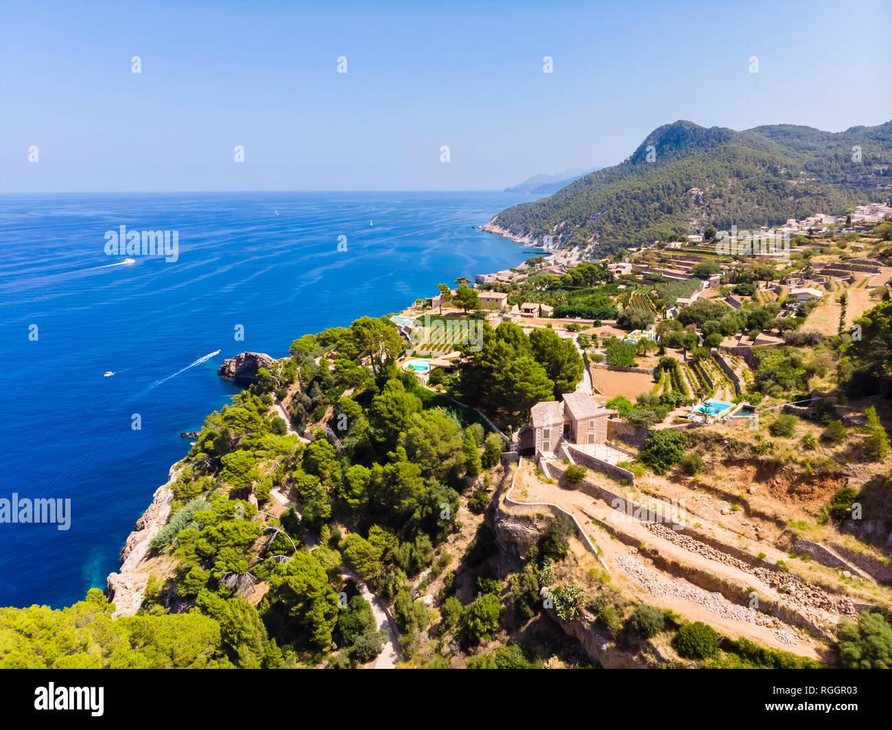 España, Baleares, Mallorca, Región de Banyalbufar, Costa oeste, Serra de Tramuntana Foto de stock