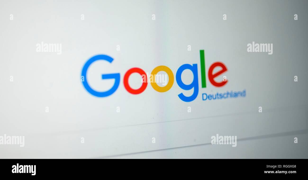 En la página de inicio de Google, el motor de búsqueda, Internet, captura de pantalla, Alemania Imagen De Stock