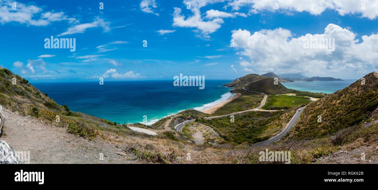 Caribe, Antillas, Saint Kitts y Nevis, Basseterre, vistas a la laguna salada Foto de stock