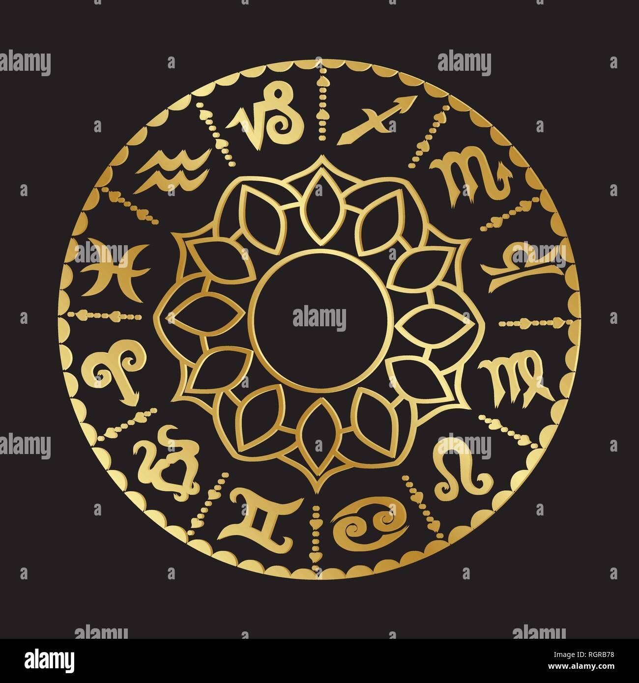 Signos Del Zodiaco Mandala Imagen Vector De Stock Alamy