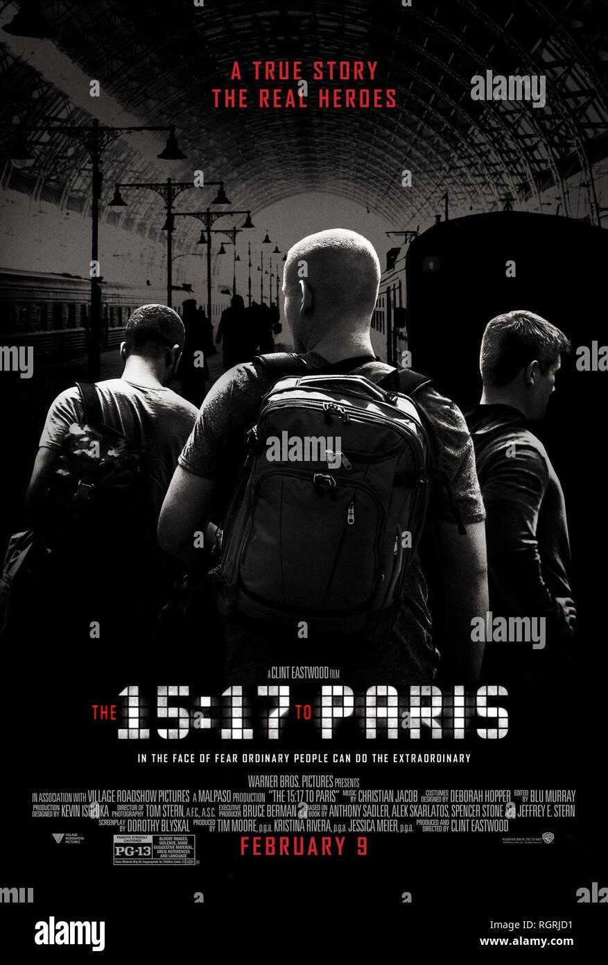 Póster de película del 15:17 a Paris (2018) Imagen De Stock