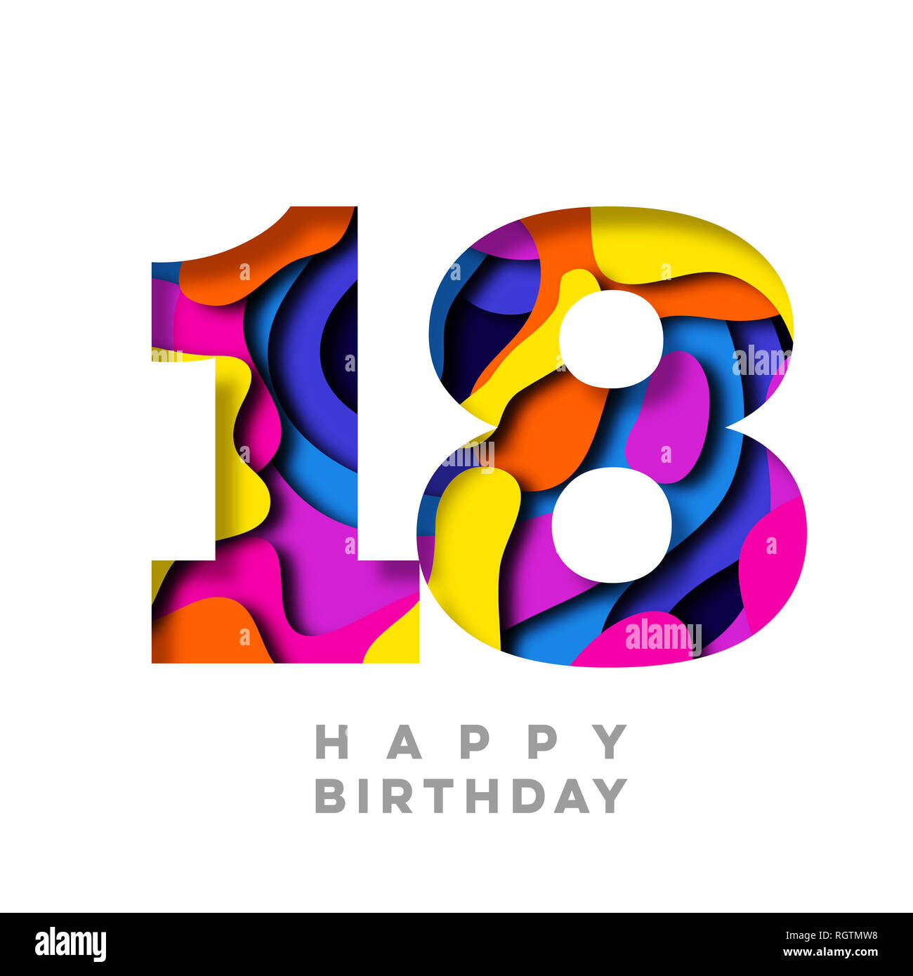e3b31d37c Feliz cumpleaños número 18 de la corte de papel colorido diseño Foto ...