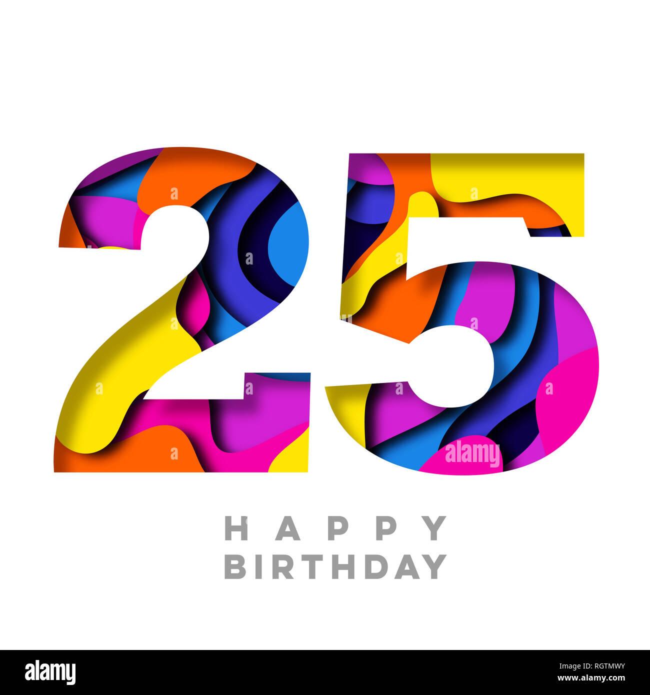 Feliz Cumpleanos Numero 25 Colorido Diseno De Corte De Papel Foto