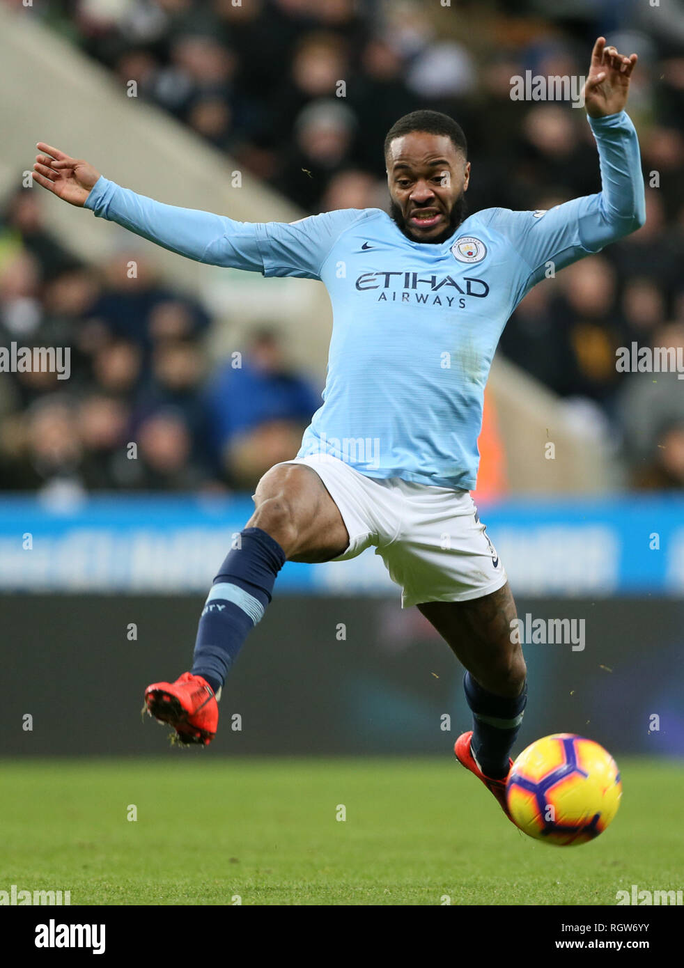 Manchester Citys Raheem Sterling Durante El Partido De Liga