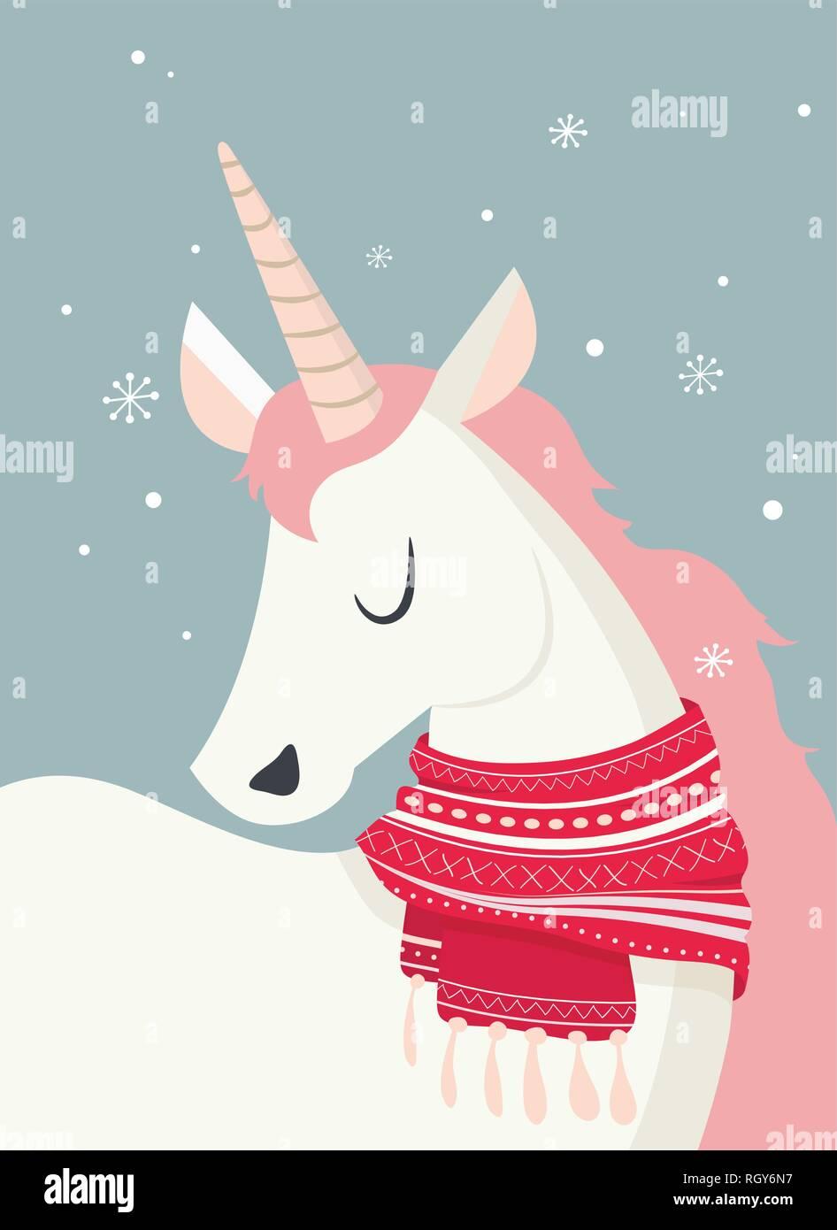 Unicornio mágico en invierno scine. Feliz Navidad y feliz año nuevo. ilustración vectorial Ilustración del Vector