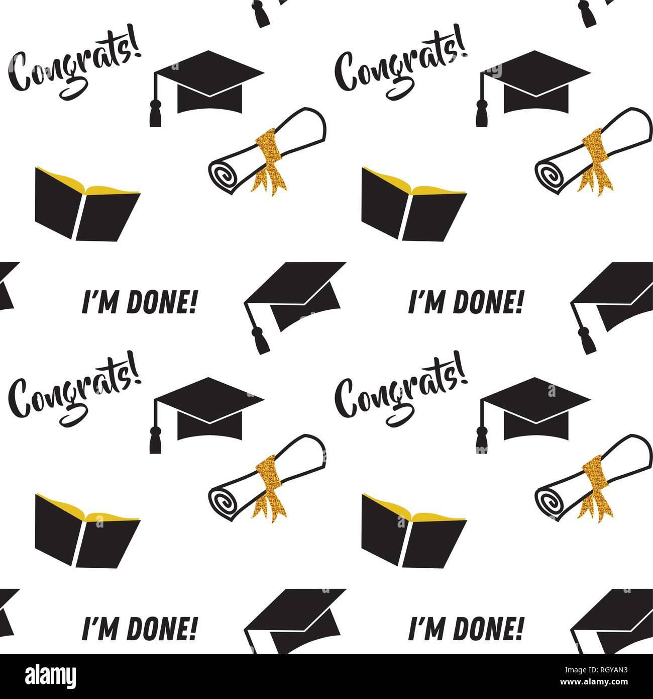 Patrón De Graduación Negro Y Dorado Fondo Vectorial Para