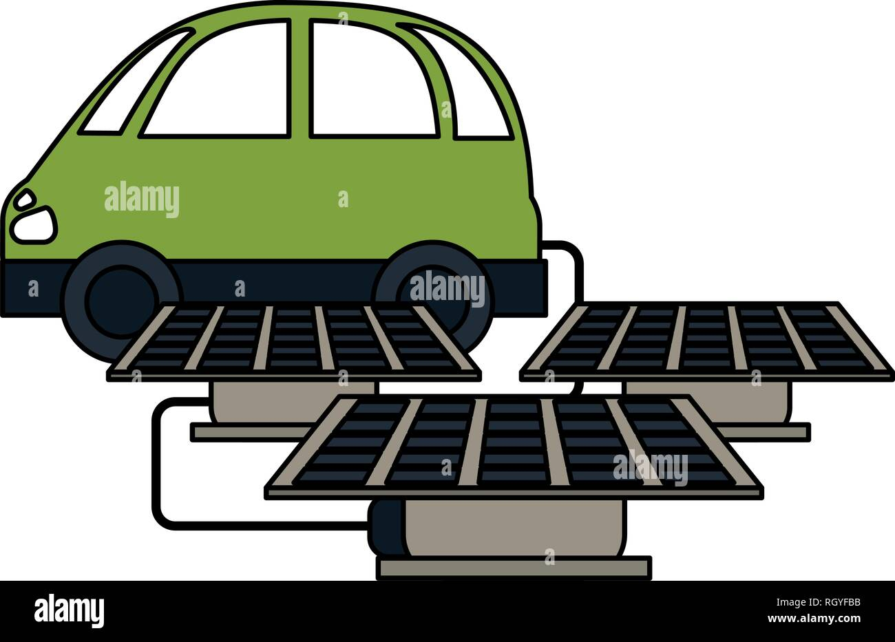 Coche eléctrico con paneles solares Imagen De Stock